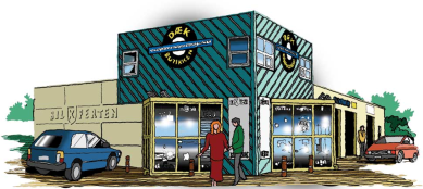 Tegning af dækbutikken i Aabybro